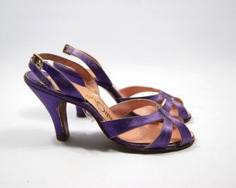 size 7 1950s Purple Satin Back Heels - Leather open Toed Heels - 50s QuliCraft