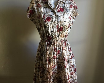 Rare 60s Batik Cotton Dress • Cotton Day Dress • S to M