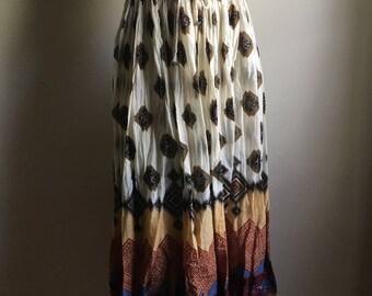 Cream Tribal Print Cotton Gauze Drawstring  Full Skirt • Free Size Skirt • Boho Chic Skirt