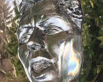 Singer, Cast Glass Song Face Sculpture with Prisms, Optical Art Rainbow Maker Musician Portrait Crystal Suncatcher