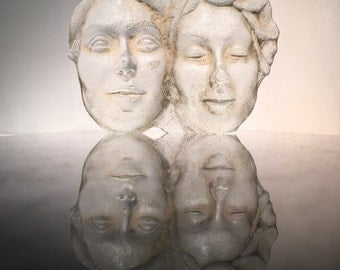 Art Glass Faces Sculpture, Friendship, Sand Cast