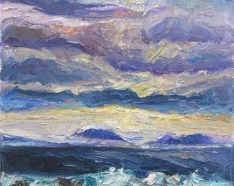 Awakening -Beautiful Sea Oil Painting, Iceland Seascape, Zen Nature, Storm Clouds, Waves, Glacier, Impasto, Impressionist, Purple, Ocean Art