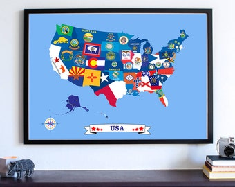 Cute Kids Room Decor USA Map Nursery Map United States Of - Us college map poster