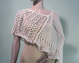 Sale - ELEGANT PONCHO/CAPLET - Wearable Fiber Art, Loosely Knitted, Italian Top Quality Cotton