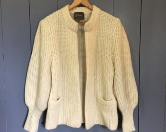 Vintage Mohair Sweater,  Chunky KNit Jacket, Cardigan, Ivory Puffy Sleeves 80s