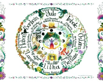 Northern Hemisphere downloadable Hand drawn Wheel of the Year chart, A4 Pagan, Hippy