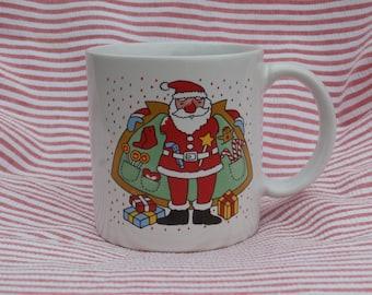 Funny Vintage Santa Claus Mug, Comical Santa and Reindeer, Made in Japan