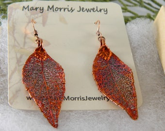 Copper Dipped Laurel Leaf Earrings, Autumn Leaves, Long Earrings