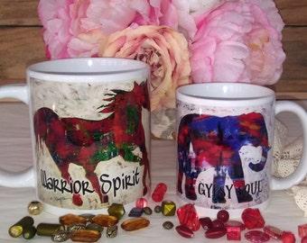 Gypsy soul warrior spirit coffee mug- tea mug - horse equine elephany gift bold hippy fun mothers day girl sister present unique