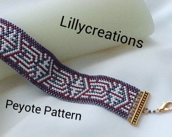 Peyote Pattern Bracelet Red, White and Blue