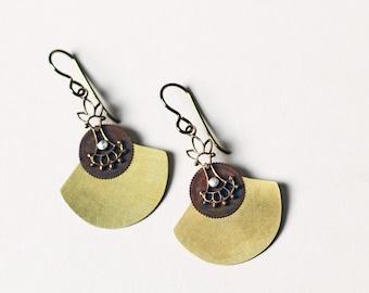 Petite fan earrings brushed brass vintage parts assemblage boho earrings