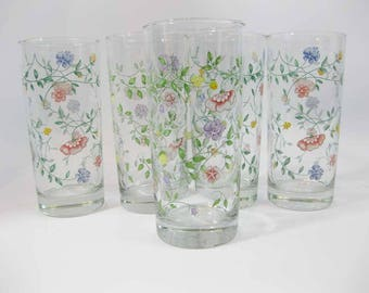 Johnson Brothers SUMMER CHINTZ 16 OZ Drinking Glasses Tumblers (5)