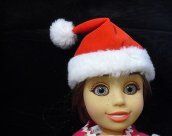 "SANTA  DOll Hat for 18"" Doll, Red Velveteen with Fur, Free Shipping"