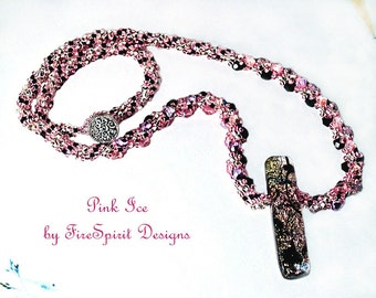 Pink Ice- OOAK necklace- beadwoven necklace- beadweaving- handmade necklace- woven necklace- jewelry- gift for her- spiral rope necklace