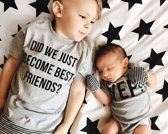 Matching Tees, Best Friend Tees, Did We Just Become Best Friends Yep, Siblings tees, pregnancy announcement, Brother Sister, Matching Set