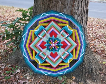 Butterfly Butterfly, a 36 inch, 12-sided, Ojo de Dios, by Inga Savage