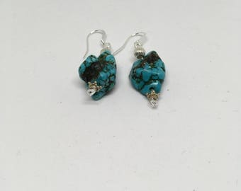 Turquoise Earrings / Plated Silver