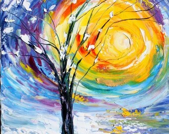 Winter Sunrise original oil painting abstract palette knife impressionism on canvas fine art by Karen Tarlton