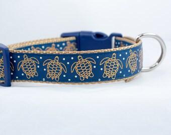 Turtle Dog Collar - 1 inch wide - buckle or martingale collar - summer dog collars - nautical dog collar - sea turtle dog collar - ocean