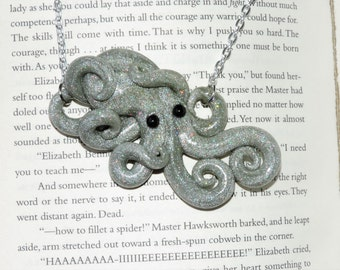 super glitter white light silver fun time octopus necklace. glittering gold. shimmer and shine.