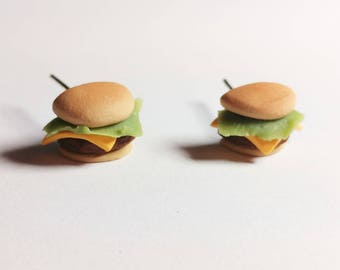 Cheese burger earrings. Hand sculpted food jewelry