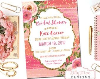 Coral and Gold Bridal Shower Invitation, Gold Glitter, Blush Pink, Rose Gold, Wedding Shower, Floral Bridal Shower, Watercolor Bridal
