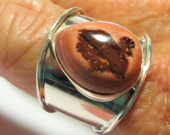 Mexican Fire Opal Ring Natural Mexican Fire Opal in Wide Band Solid Sterling Silver Ring Size 8.5