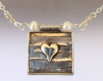 Framed Heart Silver Necklace, heart necklace, heart, heart jewelry, valentines day, pearls, heart pendant, silver heart, sterling heart
