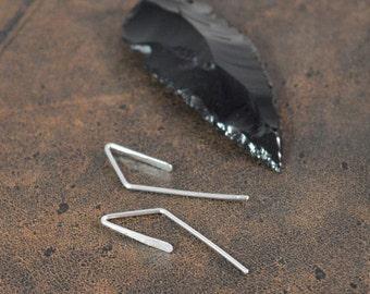 Asymmetrical Threader Earrings in 925 Sterling Silver