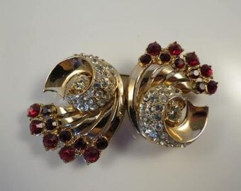A Katz Coro Duette RED Jeweled Comet Brooch Clip