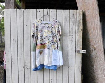 Upcycled Shirt, Wearable Art, Recycled Shirt, Repurposed Clothing, Fun Clothes, Loose Fit, Sustainable Clothing, Floral Tunic, Patchwork