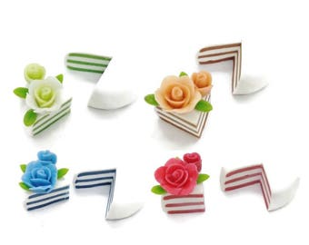 4 Miniature Polymer Clay Food Bakery for Dollhouse and Jewelry, 2.0 cm Mini Cake, 4 sets, 4 colors