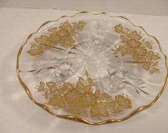 "Glass Serving Plate - Beautiful Gold Flowers & Foliage and Trim - Glass Feet - Scalloped Edge - 8"" Diameter - Center Piece - Buffet Server"