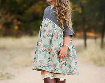 Girls Dress Pattern, Hi Low Sewing Pattern, Boho Sewing Pattern, Easy Sewing Pattern, Long Sleeve Sewing Pattern, Woodland Belle Top & Dress