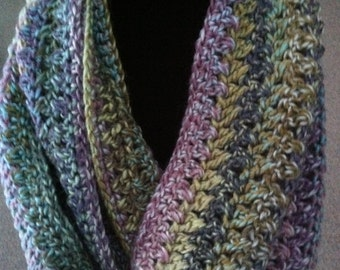 Woman / Teen Girl Crocheted Infinity Scarf / Cowl in Multicolors - Clearance Sale