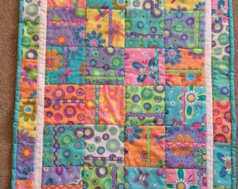 Baby quilt handmade brightly colored newborn sized