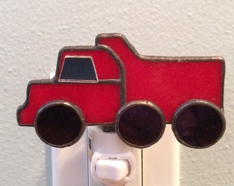 Stained Glass Red Dump Truck Night Light