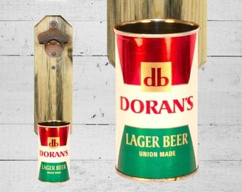 Father's Day Gift Doran's Wall Mount Beer Bottle Opener with Vintage Beer Can Cap Catcher - Great Gift for Guy