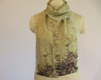 """Nature Lover Gift - Scarf - Plant-Dyed Silk - Ecoprint - Gold Brown Purple Taupe Green -  HA8161122  - 8""""x70"""" (20 x 177cm)"""