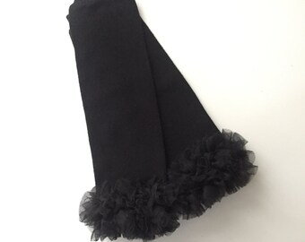 Black ruffles bottoms leg warmers  for babies and toddlers