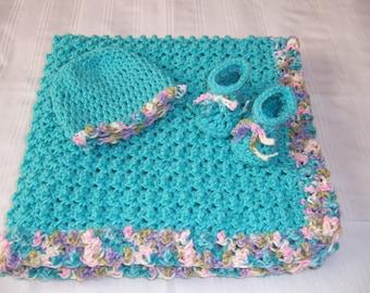 Crochet baby blanket set, baby girl, baby shower gift, newborn baby gift, hat and booties, turquoise