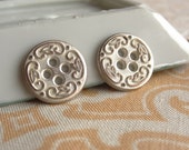 """12 Copper and White Round Buttons. Filigree and Leaf buttons. 1/2"""" Round Button. B32"""