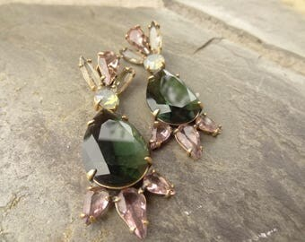 Vintage Statement Rhinestone Earrings. Purple, Green, Beige, Opalescence, Large Rhinestone Earrings, Designer, Post Earrings
