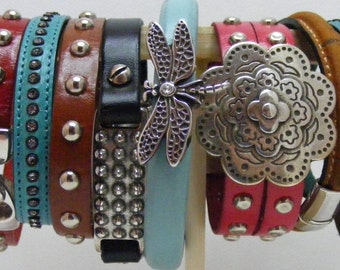 Light Brown Studded Leather Bracet