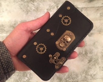 Black leather iPhone 6 case,skull iPhone 6S wallet,steampunk leather iPhone 6 Plus cover,leather iPhone 7 case,iPhone 7 Plus leather case