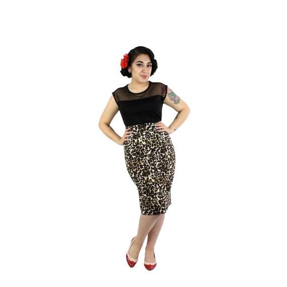pin up leopard pencil skirt