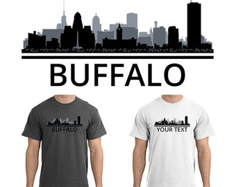 Buffalo skyline etsy for Custom t shirts buffalo ny