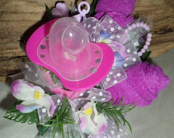 Baby Girl Shower Washcloth Corsage - Pin On Floral Corsage - Hot Pink Pacifier and Purple Washcloths Corsage- Baby Shower Items