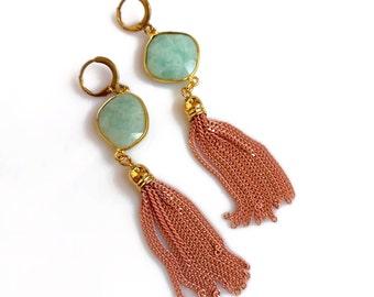 Gemstone Tassel Earrings, Jade Earrings, Tassel Jewelry, Mint Peach Statement Earrings