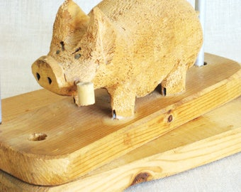 Vintage Folk Art Napkin Holder, Hand Carved Wooden Pig, Picnic Table, Kitchen, Handmade, Wood Carvings, Hog, Hand Crafted